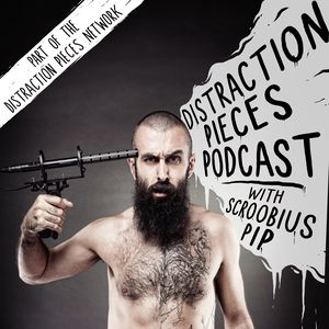 Distraction Pieces Podcast advertising image - Scroobius Pip holding mic to head